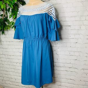 Esley Blue Crotchet Neck Flutter Sleeve Dress LG